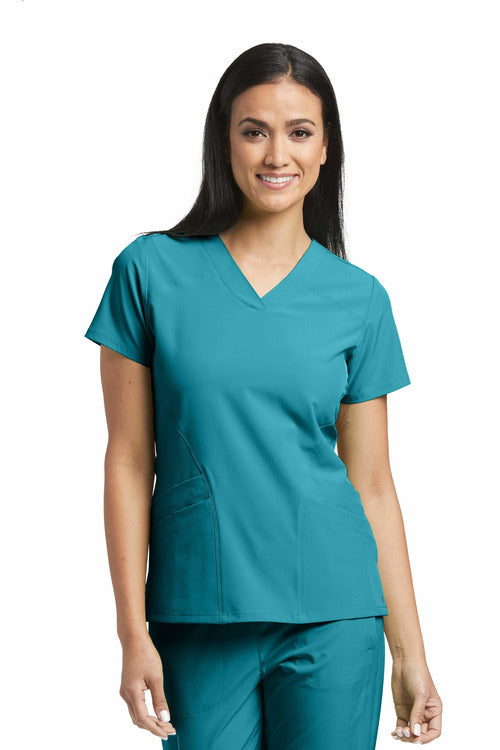 Barco One Scrub Top 4 Way Stretch 2XL / Teal / 50% Poly / 43% Recycled Poly / 7% Spandex Barco One - Ladies Vet Scrub Top 5106 2XL-5XL