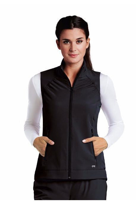 Barco One - Women's Nurses Scrub Vest 5406 Jacket Barco One XXS Black 50% Poly/43% Recycled Poly/7% Spandex