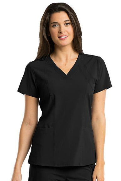 Barco One Scrub Top 4 Way Stretch XXS / Black / 50% Polyester 43% Recycled Polyester 7% Spandex Barco One - Ladies Vet Scrub Top 5105