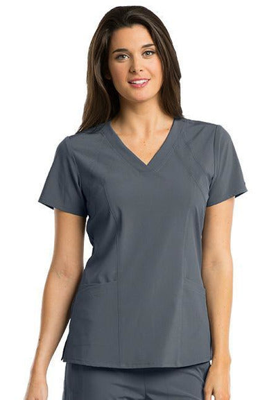 Barco One Scrub Top 4 Way Stretch XXS / Granite / 50% Polyester 43% Recycled Polyester 7% Spandex Barco One - Ladies Vet Scrub Top 5105