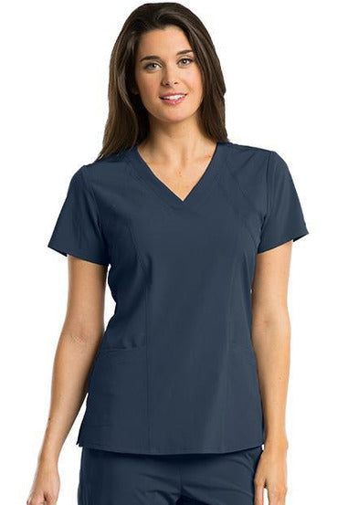 Barco One Scrub Top 4 Way Stretch XXS / Steel / 50% Polyester 43% Recycled Polyester 7% Spandex Barco One - Ladies Vet Scrub Top 5105