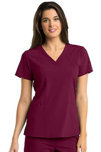 Barco One Scrub Top 4 Way Stretch XXS / Wine / 50% Polyester 43% Recycled Polyester 7% Spandex Barco One - Ladies Vet Scrub Top 5105