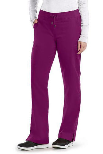 Grey's Anatomy Scrub Pant 2 Way Stretch 2XL / Wine / 77% Polyester / 23% Rayon Grey's Anatomy - Ladies Nurse Scrub Pant 2XL-5XL 4277