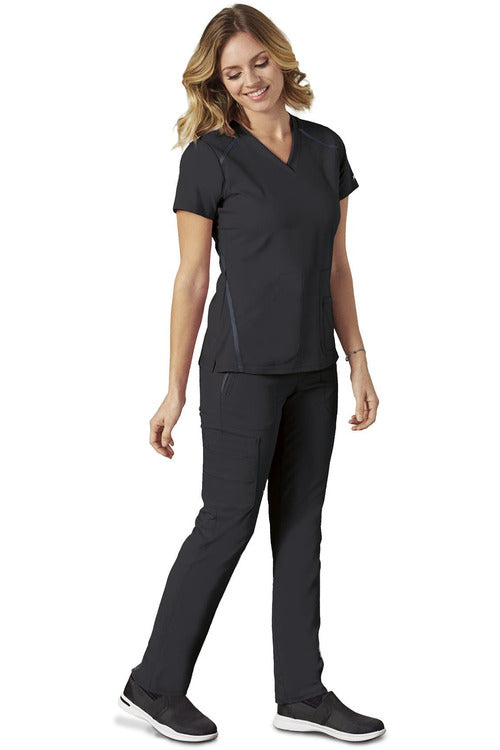 Grey's Anatomy IMPACT - Women's Premium Nurses Scrub Top 7188 Scrub Top 4 Way Stretch Grey's Anatomy IMPACT Black XXS Poly/Rayon/Spandex