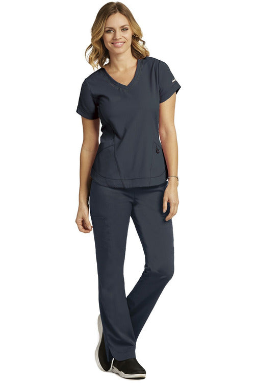Grey's Anatomy IMPACT Scrub Top 4 Way Stretch Steel / XXS / Poly/Rayon/Spandex Grey's Anatomy IMPACT - Ladies Nurses Scrub Top 7187
