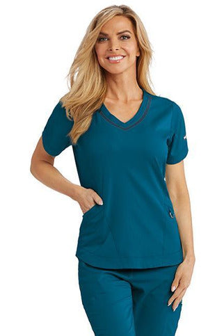 Grey's Anatomy IMPACT Scrub Top 4 Way Stretch XXS / Bahama / 74%Polyester/23%Rayon/3%Spandex Grey's Anatomy IMPACT - Ladies Nurses Scrub Top 7187