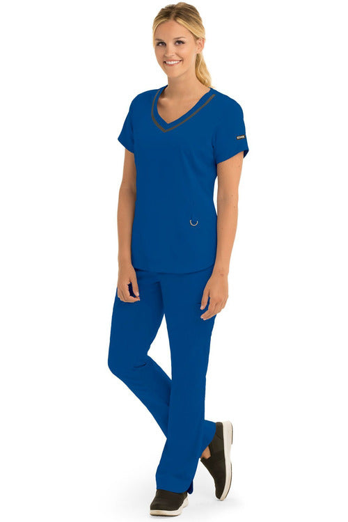 Grey's Anatomy IMPACT Scrub Top 4 Way Stretch XXS / New Royal / 74%Polyester/23%Rayon/3%Spandex Grey's Anatomy IMPACT - Ladies Nurses Scrub Top 7187