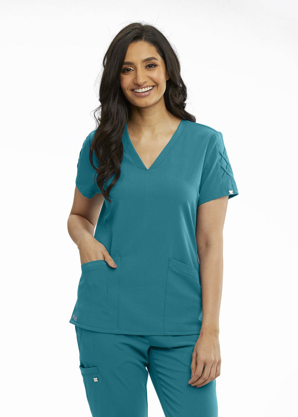 Grey's Anatomy Signature Scrub Top 2XL / 39 Teal Ladies Astra Scrub Top 2XL-5XL
