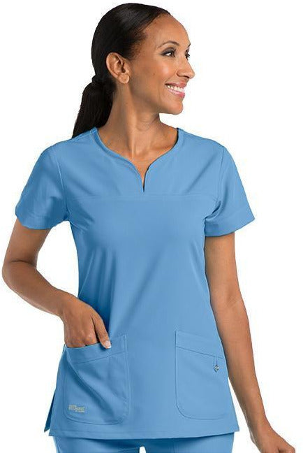 Grey's Anatomy Signature Scrub Top 4 Way Stretch 2XL / Ciel / 71% Polyester / 24% Rayon / 5% Spandex Grey's Anatomy Signature - Ladies BEST Scrub Top 2XL-5XL 2121
