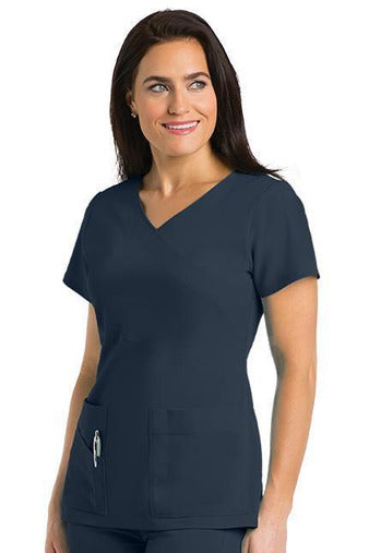 Grey's Anatomy Signature Scrub Top 4 Way Stretch 2XL / Graphite / 71% Polyester / 24% Rayon / 5% Spandex Grey's Anatomy Signature - Ladies Dentist Scrub Top 2XL-5XL 2130