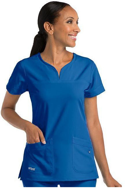 Grey's Anatomy Signature Scrub Top 4 Way Stretch 2XL / New Royal / 71% Polyester / 24% Rayon / 5% Spandex Grey's Anatomy Signature - Ladies BEST Scrub Top 2XL-5XL 2121