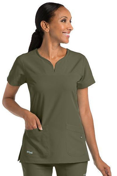 Grey's Anatomy Signature Scrub Top 4 Way Stretch 2XL / Olive / 71% Polyester / 24% Rayon / 5% Spandex Grey's Anatomy Signature - Ladies BEST Scrub Top 2XL-5XL 2121
