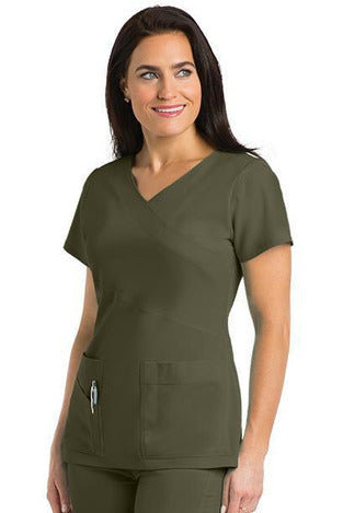 Grey's Anatomy Signature Scrub Top 4 Way Stretch 2XL / Olive / 71% Polyester / 24% Rayon / 5% Spandex Grey's Anatomy Signature - Ladies Dentist Scrub Top 2XL-5XL 2130