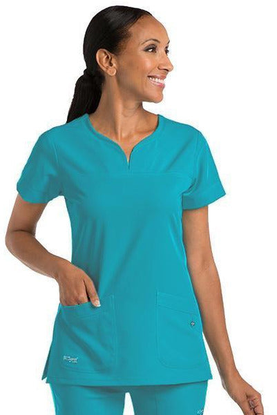 Grey's Anatomy Signature Scrub Top 4 Way Stretch 2XL / Teal / 71% Polyester / 24% Rayon / 5% Spandex Grey's Anatomy Signature - Ladies BEST Scrub Top 2XL-5XL 2121