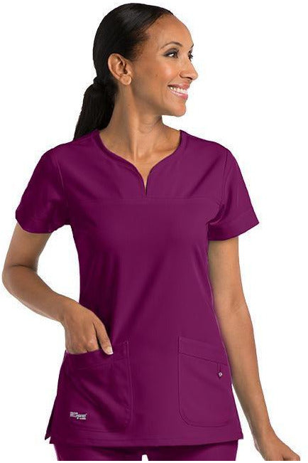 Grey's Anatomy Signature Scrub Top 4 Way Stretch 2XL / Wine / 71% Polyester / 24% Rayon / 5% Spandex Grey's Anatomy Signature - Ladies BEST Scrub Top 2XL-5XL 2121