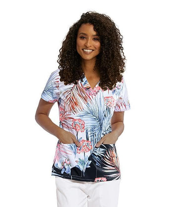 Ladies Coral Palm Print Scrub Top | Limited Edition