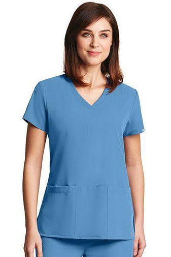 Grey's Anatomy Signature Scrub Top 4 Way Stretch XXS / Ciel / 71% Poly / 24% Rayon / 5% Spandex Grey's Anatomy Signature - Ladies Dental Scrub Top 2115