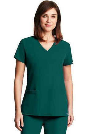 Grey's Anatomy Signature Scrub Top 4 Way Stretch XXS / Hunter / 71% Poly / 24% Rayon / 5% Spandex Grey's Anatomy Signature - Ladies Dental Scrub Top 2115