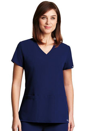 Grey's Anatomy Signature - Women's Dental Scrub Top 2115 Scrub Top 4 Way Stretch Grey's Anatomy Signature XXS Indigo 71% Poly / 24% Rayon / 5% Spandex