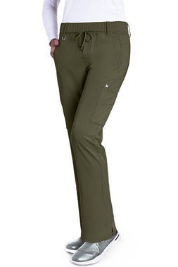 Grey's Anatomy Signature Scrub Pant 4 Way Stretch XXS / Olive / 71%Polyester/24%Rayon/5%Spandex Grey's Anatomy Signature - Ladies Olivia Scrub Pant 2218 PETITE
