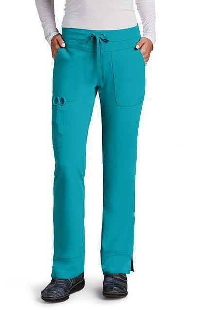 Grey's Anatomy Signature Scrub Pant 4 Way Stretch XXS / Teal / 71% Polyester / 24% Rayon / 5% Spandex Grey's Anatomy Signature - Ladies Dental Scrub Pant 2207 Petite
