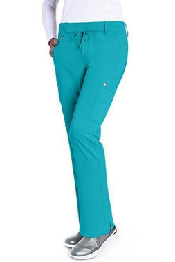 Grey's Anatomy Signature Scrub Pant 4 Way Stretch XXS / Teal / 71%Polyester/24%Rayon/5%Spandex Grey's Anatomy Signature - Ladies Olivia Scrub Pant 2218 PETITE