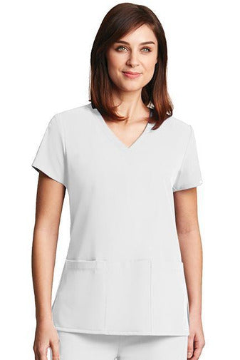 Grey's Anatomy Signature Scrub Top 4 Way Stretch XXS / White / 71% Poly / 24% Rayon / 5% Spandex Grey's Anatomy Signature - Ladies Dental Scrub Top 2115