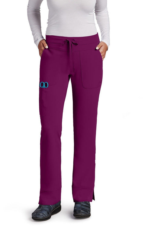 Grey's Anatomy Signature Scrub Pant 4 Way Stretch XXS / Wine / 71% Polyester / 24% Rayon / 5% Spandex Grey's Anatomy Signature - Ladies Dental Scrub Pant 2207 Petite