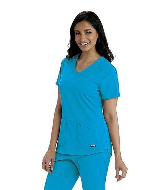 Grey's Anatomy + Stretch Scrub Top 2XL / 2040 Blue Sky Ladies Emma Scrub Top 2XL - 5XL