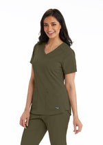 Grey's Anatomy + Stretch Scrub Top 2XL / 312 Olive Ladies Emma Scrub Top 2XL - 5XL