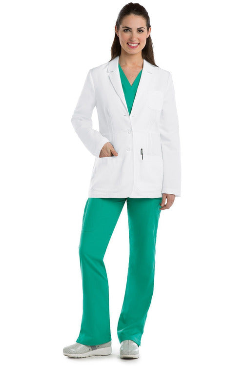 "Grey's Anatomy Lab Coats XS / White / 80% Polyester / 20% Cotton Peached Twill Greys Anatomy - Women's Lab Coat 28"" 4456"