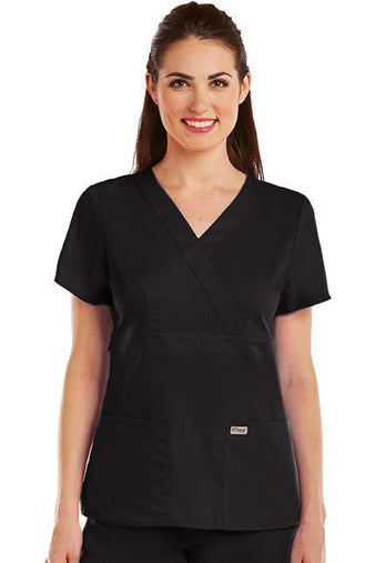 Grey's Anatomy Scrub Top 2 Way Stretch XXS / Black / 77% Polyester / 23% Rayon Grey's Anatomy - Ladies Nurse Scrub Top 4153