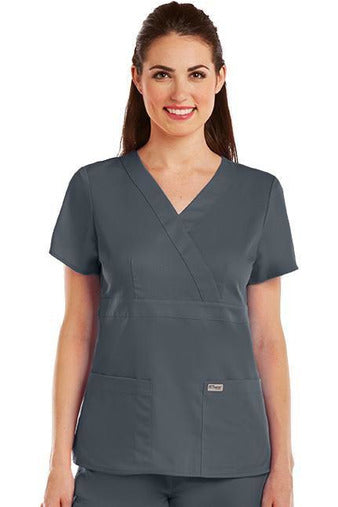 Grey's Anatomy Scrub Top 2 Way Stretch XXS / Granite / 77% Polyester / 23% Rayon Grey's Anatomy - Ladies Nurse Scrub Top 4153