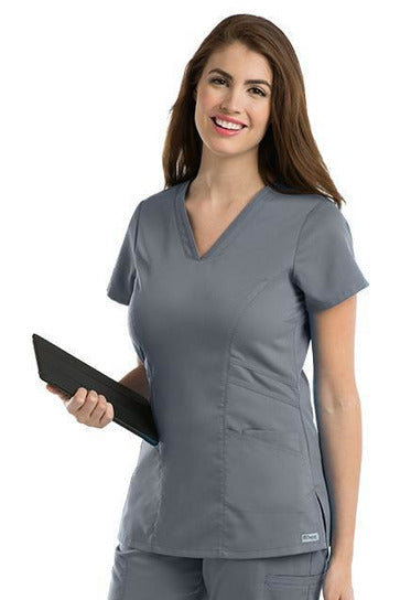 Grey's Anatomy Scrub Top 2 Way Stretch XXS / Granite / 77% Polyester / 23% Rayon Grey's Anatomy - Ladies Nurse Scrub Top 41452