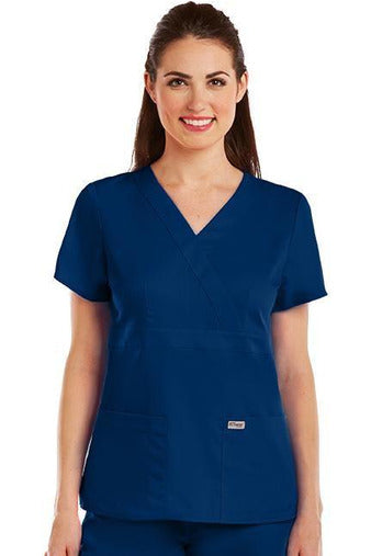 Grey's Anatomy Scrub Top 2 Way Stretch XXS / Indigo / 77% Polyester / 23% Rayon Grey's Anatomy - Ladies Nurse Scrub Top 4153