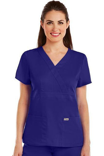 Grey's Anatomy Scrub Top 2 Way Stretch XXS / Purple Rain / 77% Polyester / 23% Rayon Grey's Anatomy - Ladies Nurse Scrub Top 4153