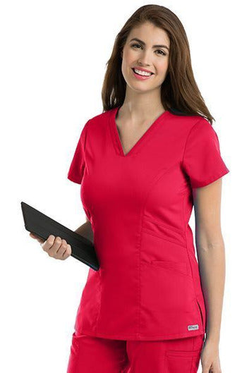 Grey's Anatomy Scrub Top 2 Way Stretch XXS / Scarlet / 77% Polyester / 23% Rayon Grey's Anatomy - Ladies Nurse Scrub Top 41452