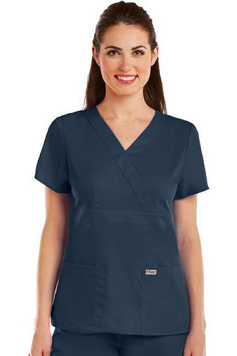Grey's Anatomy Scrub Top 2 Way Stretch XXS / Steel / 77% Polyester / 23% Rayon Grey's Anatomy - Ladies Nurse Scrub Top 4153