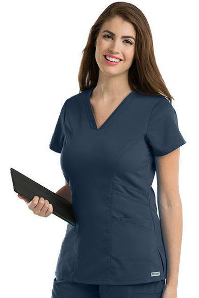 Grey's Anatomy Scrub Top 2 Way Stretch XXS / Steel / 77% Polyester / 23% Rayon Grey's Anatomy - Ladies Nurse Scrub Top 41452