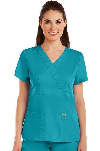 Grey's Anatomy Scrub Top 2 Way Stretch XXS / Teal / 77% Polyester / 23% Rayon Grey's Anatomy - Ladies Nurse Scrub Top 4153
