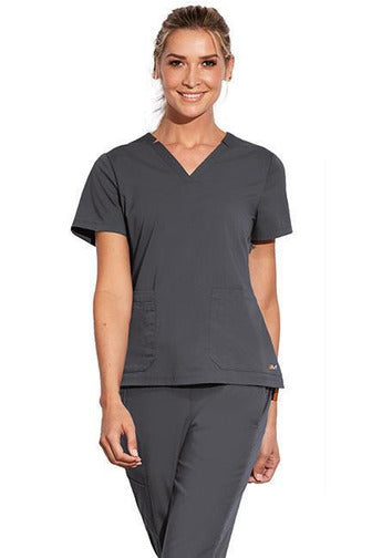 MOTION by BARCO Scrub Top 2XL / PEWTER / 64% POLYESTER / 33% RAYON / 3% SPANDEX MOTION by BARCO - Ladies Claire Top MOT002 2XL-3XL