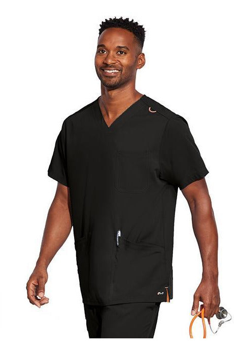 MOTION by BARCO Scrub Top XXS / BLACK / 64% POLYESTER / 33% RAYON / 3% SPANDEX MOTION by BARCO - Mens Jake Top MOT019