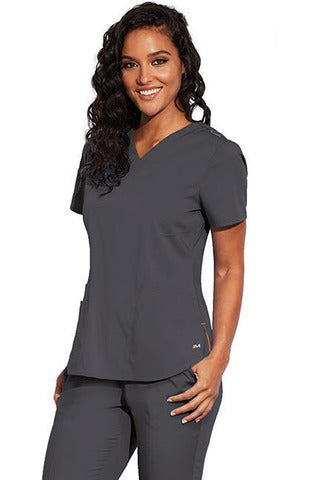 MOTION by BARCO Scrub Pant XXS / PEWTER / 64% POLYESTER / 33% RAYON / 3% SPANDEX MOTION by BARCO - Ladies Jill Top MOT001