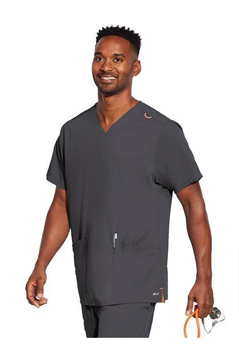 MOTION by BARCO Scrub Top XXS / PEWTER / 64% POLYESTER / 33% RAYON / 3% SPANDEX MOTION by BARCO - Mens Jake Top MOT019