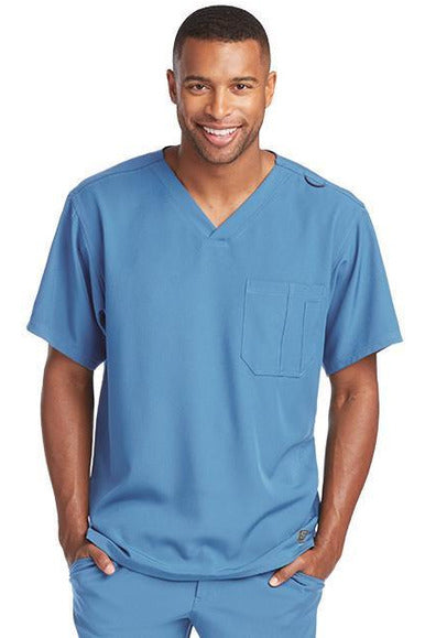 Skechers by BARCO Scrub Top 2XL / Ciel / 54% Polyester / 40% Recycles Polyester / 6% Spandex SKECHERS by Barco - Men's Structure Scrub Top SK0112 2XL-5XL