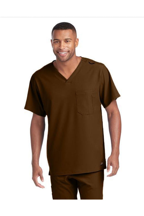 Skechers by BARCO Scrub Top 2XL / French Roast / 54% Polyester / 40% Recycles Polyester / 6% Spandex SKECHERS by Barco - Men's Structure Scrub Top SK0112 2XL-5XL