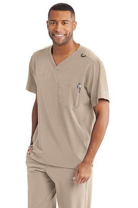 Skechers by BARCO Scrub Top 2XL / Khaki / 54% Polyester / 40% Recycles Polyester / 6% Spandex SKECHERS by Barco - Men's Structure Scrub Top SK0112 2XL-5XL