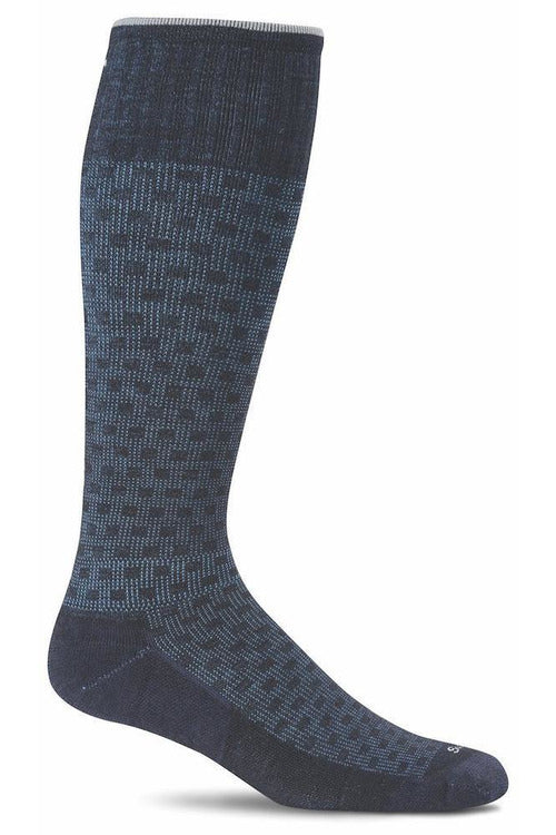 Men's Shadow Box | Graduated Compression Moderate 15-20 mmHg SW16M Therapeutic Compression Socks Sockwell M/L Navy MERINO WOOL/BAMBOO/NYLON/SPANDEX