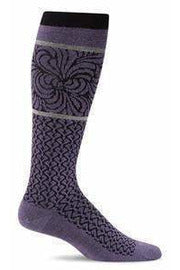 Women's Art Deco | Graduated Compression 15-20mmHg SW48W Seasonal Socks Sockwell M/L Plum 350 MERINO WOOL/BAMBOO/NYLON/SPANDEX