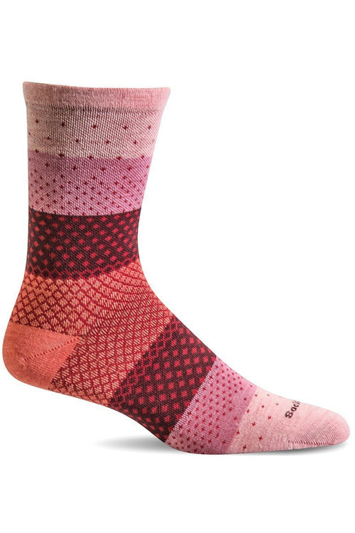 Sockwell Seasonal Socks M/L / Rose / MERINO WOOL/BAMBOO/NYLON/SPANDEX Women's Plantar Ease Crew | Graduated Compression 15-20mmHg SW72W